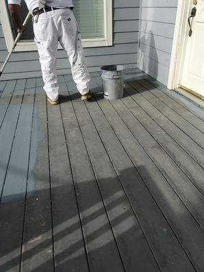 Deck staining in San Diego, CA by Rubio's Painting Services.